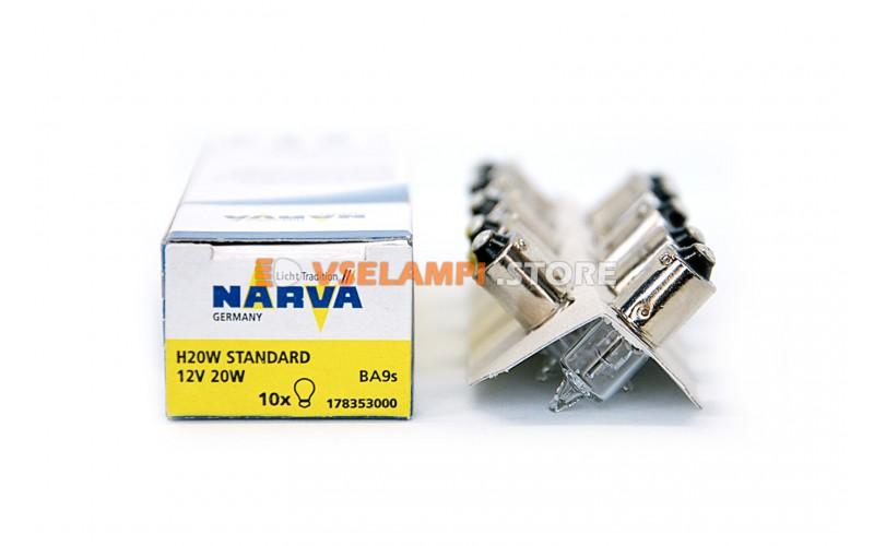 Лампа накаливания 1-контактная Narva Halogen H20W (BA9s), 12v, 20w, цвет желтый, 1шт - 17835
