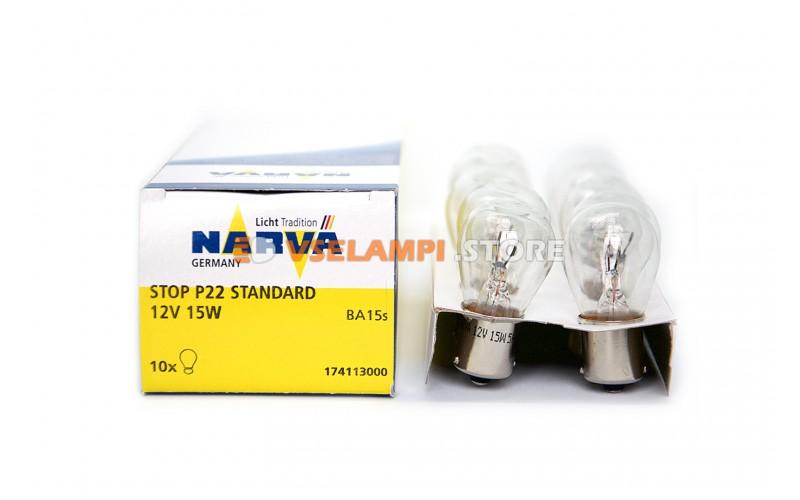 Лампа накаливания 1-контактная Narva Stop P22 P15W (BA15s), 12v, 15w, цвет желтый, 1шт - 17411