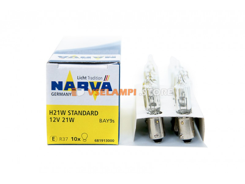 Лампа накаливания 1-контактная Narva H21W (BAY9s), 12v, 21w, цвет желтый, 1шт - 68191