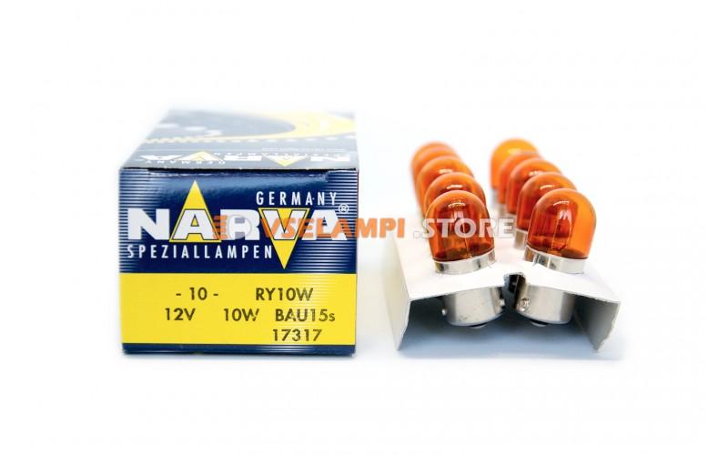Лампа накаливания 1-контактная Narva RY10W (BAU15s), 12v, 10w, цвет оранжевый, 1шт - 17317
