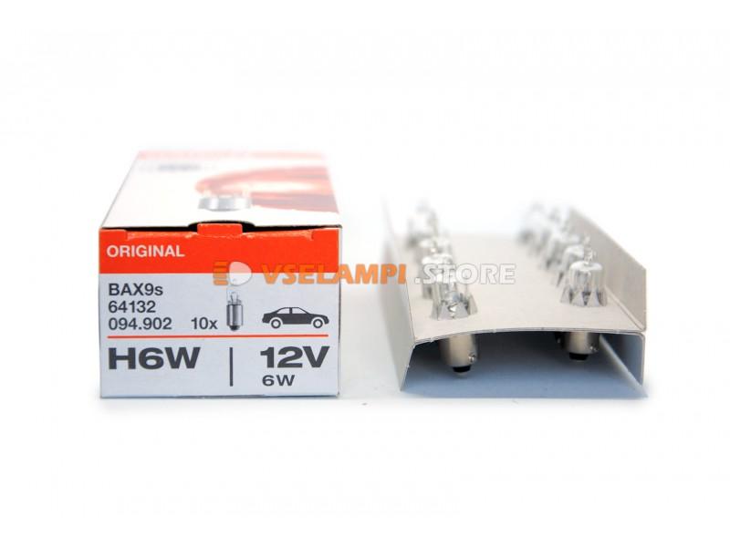 Авто-лампочка OSRAM H6W 12v (6w) BAX9s 64132 (галоген)