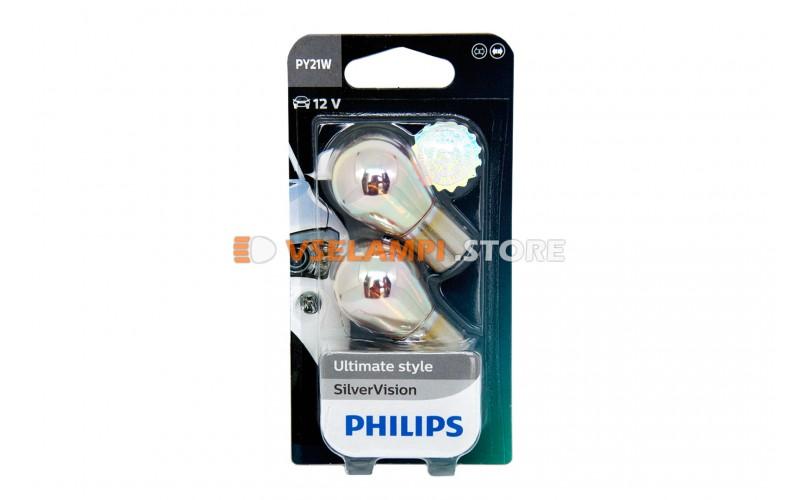 Авто-лампочка PHILIPS PY21W 12v 21w (BAU15d) (серебристый дизайн) Silver Vision 12496SVS Оранжевая