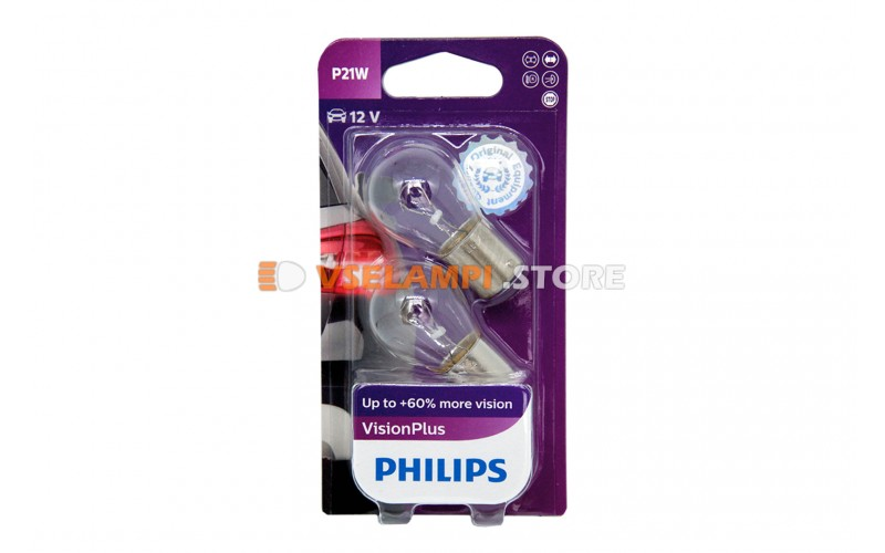 Авто-лампочка PHILIPS Vision Plus P21W 12v 21W (BA15s) (+60% cвета) 12498VPB2