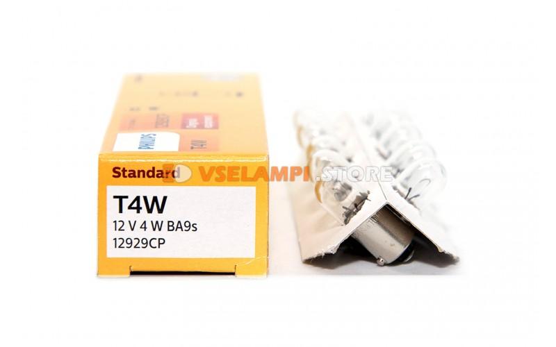 Авто-лампочка PHILIPS T4W 12v 4w (BA9s) (габарит цок.) 12929CP