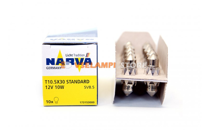 Лампа накаливания Narva Fest T10.5 C10W (SV8,5-28/11) A/C, 28мм, 12v, 10w, цвет желтый, 1шт - 17315