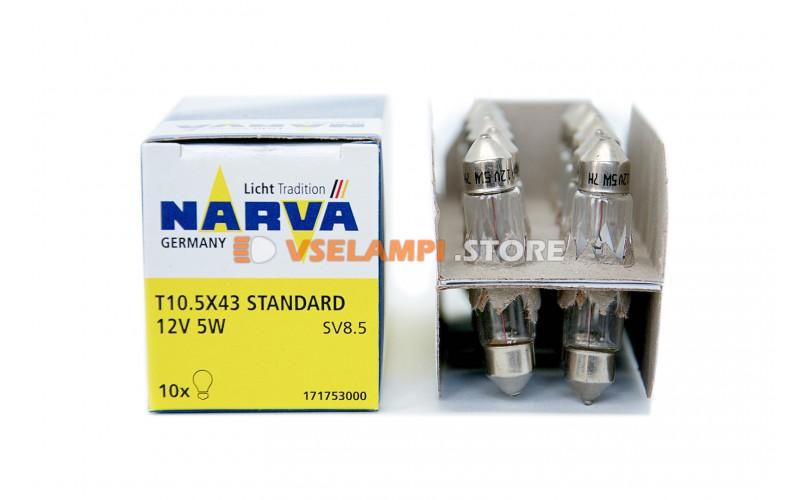 Лампа накаливания Narva Fest T10.5 C5W (SV8.5-41/11) A/C, 41мм, 12v, 5w, цвет желтый, 1шт - 17175