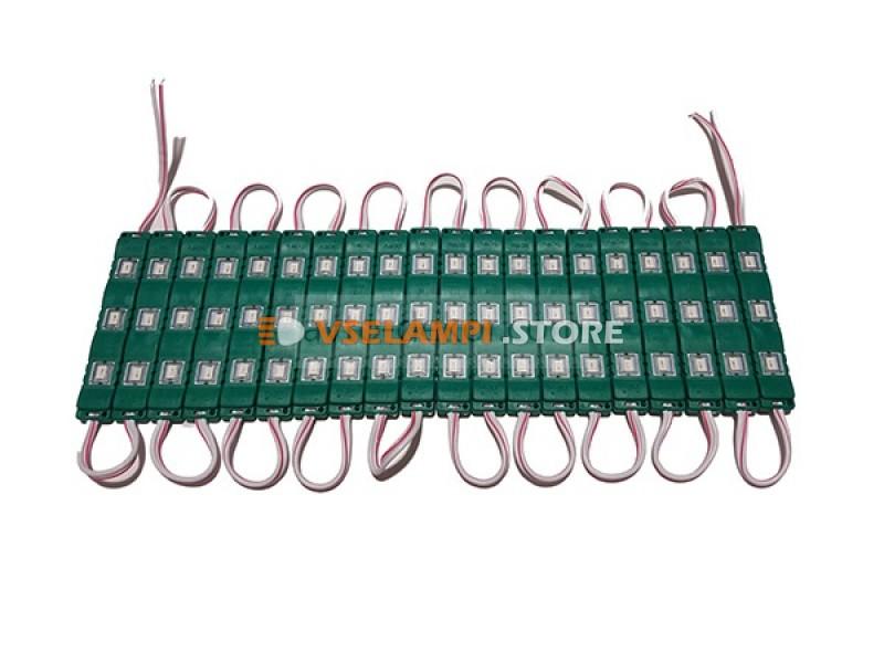 Светодиодный модуль 12v 3SMD 77*12мм, 1шт. - цвет свечения синий