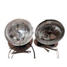Фары противотуманные HY-882 clear круглые, гладкое стекло d 100мм с отражателем и диодным кольцом