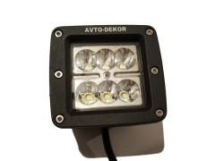 Прожектор квадратный 9-30V 24W 6SMD 81x75mm дальний