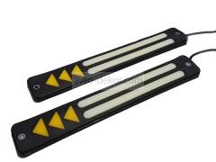 Ходовые огни 065 две линии с поворотником белый+жёлтый 210*33 мм (COB диод) гибкие резиновые