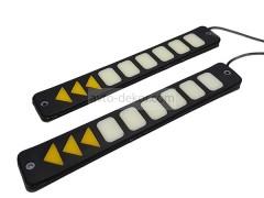 Ходовые огни 066 9 диодов с поворотником белый+жёлтый 210*33 мм (COB диод) гибкие резиновые