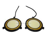 Ходовые огни 070 два круга Узкие ангельские глазки 72-DJ-A белый+жёлтый d 76 мм (COB диод) гибкие резиновые