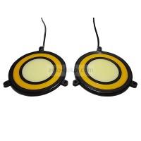 Ходовые огни 071 два круга Широкие ангельские глазки 72-DJ-B белый+жёлтый d 89 мм (COB диод) гибкие резиновые