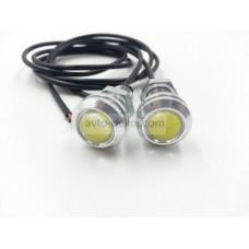 Точечные дневные ходовые огни DRL 042 1.5W 18мм COB диод серебро врезные (2шт в коробке)