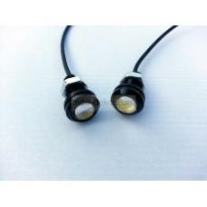 Точечные дневные ходовые огни DRL 041 1.5W 18мм COB диод чёрные врезные (2шт в коробке)