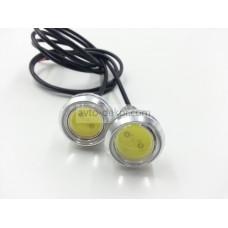 Точечные дневные ходовые огни DRL 044 3W 23мм COB диод серебро врезные высокие (2шт в коробке)