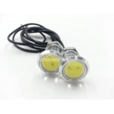 Точечные дневные ходовые огни DRL 046 3W 23мм COB диод серебро врезные (2шт в коробке)