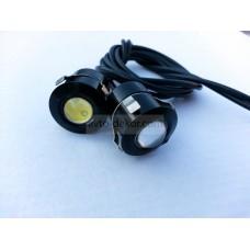 Точечные дневные ходовые огни DRL 047 3W 21мм COB диод чёрные врезные в парктроник (2шт в коробке)