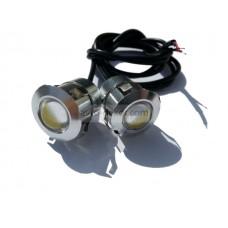 Точечные дневные ходовые огни DRL 048 3W 23мм COB диод серебро врезные в парктроник (2шт в коробке)