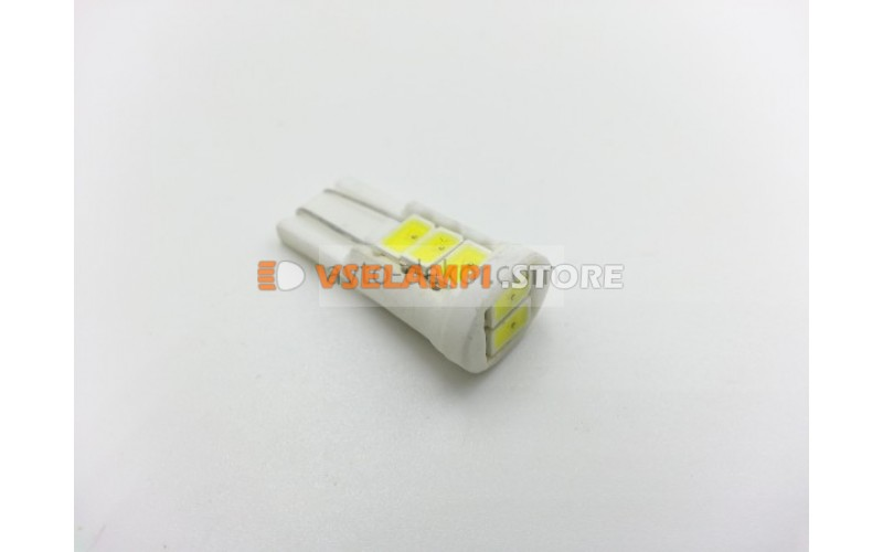Светодиод 12vT10 8SMD б/ц белый Фарфоровый цоколь