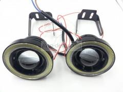 Фары линзованые 20W High Power chip с ангельскими глазками D76мм