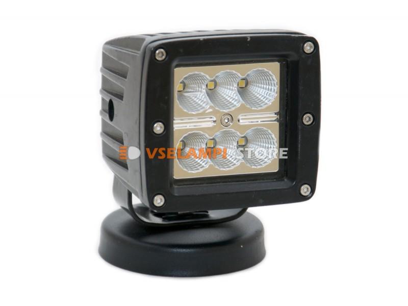 Прожектор 9-32v 18W 6SMD 80x80mm - тип свечения ближний