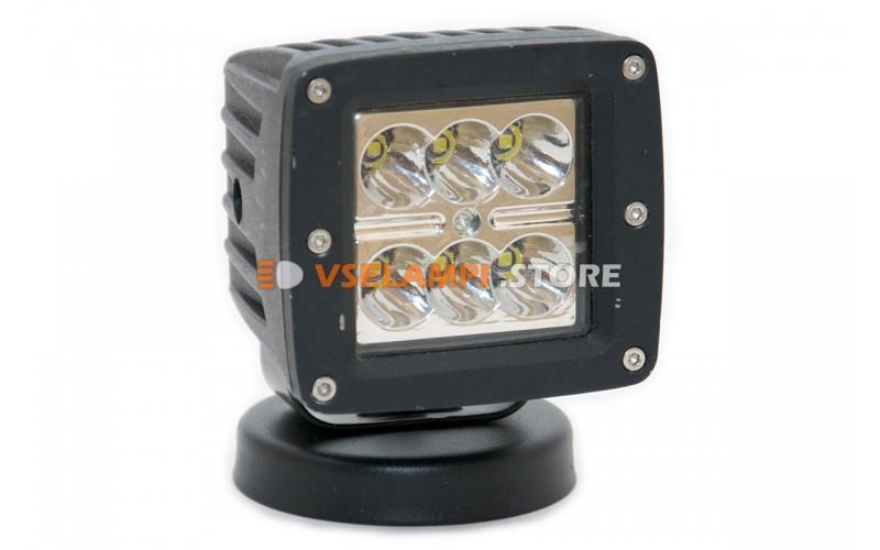 Прожектор 9-32v 18W 6SMD 80x80mm - тип свечения дальний