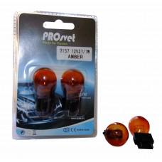Галогенная лампа PROsvet 12v 27/7w 3157 AMBER (2 конт.) амер. цок. оранжевый (к-т)