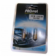 Галогенная лампа PROsvet 12v H21W BAY9s clear (к-т)