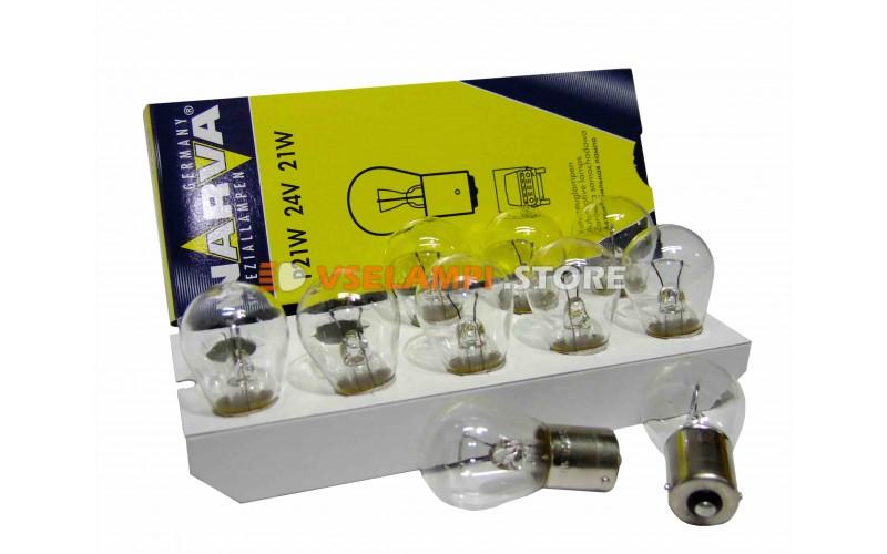 Лампа накаливания 1-контактная Narva P21W (BA15s), 24v, 21w, цвет желтый, 1шт - 17643