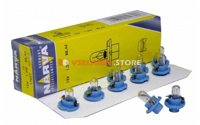 Лампа накаливания приборная Narva Light Blue W1.2W BAX (BAX8.4d), 12v, 1.2w, цвет желтый, 1шт - 17027