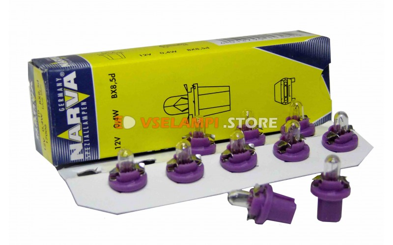Лампа накаливания приборная Narva Violet W0.4W BAX (BX8.5d), 12v, 0.4w, цвет желтый, 1шт - 17006