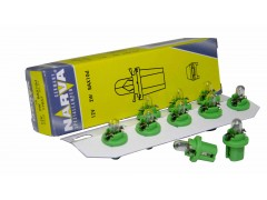 Авто-лампочка Narva Yellow-Green W2W BAX10d (BX8.5d), 12v, 2w, желтый