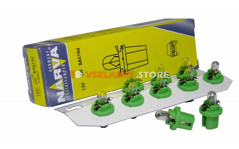 Лампа накаливания приборная Narva Yellow-Green W2W BAX (BAX10d), 12v, 2w, цвет желтый, 1шт - 17057