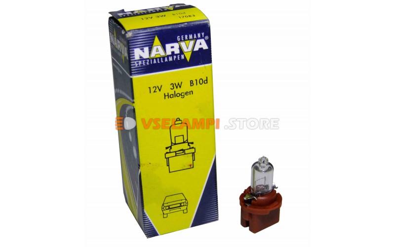 Лампа накаливания приборная Narva Brown W3W BAX (B10d), 12v, 3w, цвет желтый, 1шт - 17083