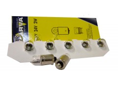 Авто-лампочка Narva T2W (BA9s), 1 конт, 24v, 2w, желтый