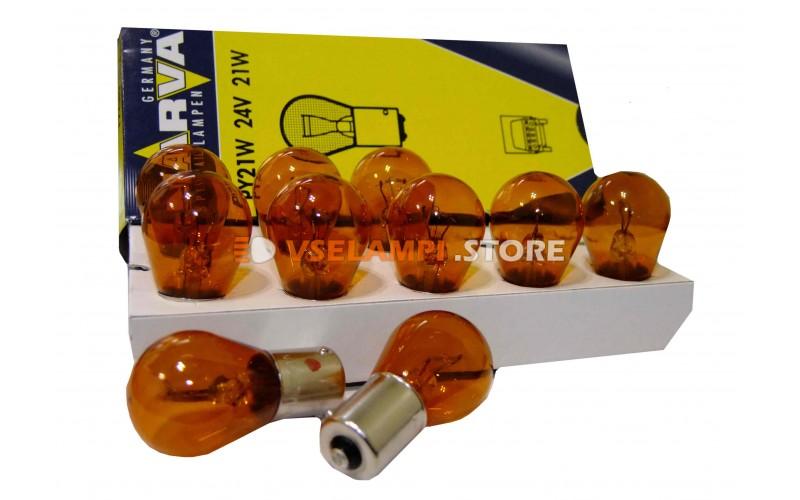 Лампа накаливания 1-контактная Narva Amber HD PY21W (BAU15s), 24v, 21w, цвет оранжевый, 1шт - 17649