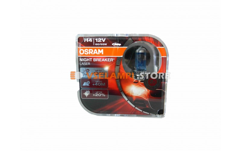 Комплект галогеновых авто-ламп OSRAM  Night Breaker Laser - EURO BOX, 130%, 12v, 60/55w, цвет желтый, 2шт