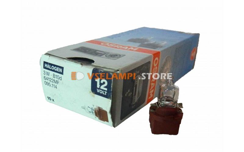 Авто-лампочка OSRAM 12v (3w) B10d пластмассовый патрон 64122MF (галоген)