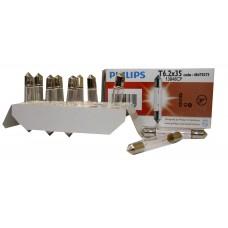 Галогенная лампа PHILIPS Fest T6.2x35 24V-3W(SV6) 13848CP
