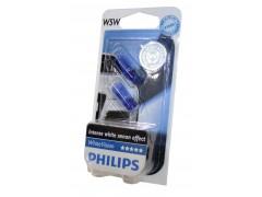 Галогенная лампа PHILIPS White Vision W5W 12v 5w (W2,1x9,5d) (габ. без цок.) (голуб. спектр 4300К) 12961NBVB2