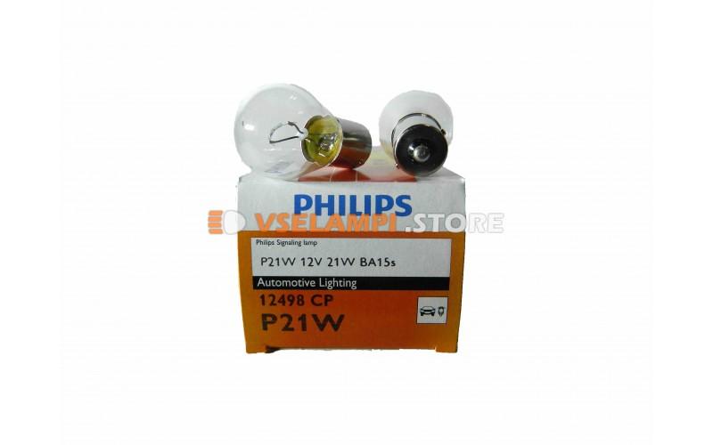 Авто-лампочка PHILIPS P21W 12v 21w (BA15s) 1 конт. 12498CP