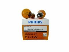 Авто-лампочка PHILIPS PY21W 12v 21w (BAU15s) оранж. со см. цок. 12496NACP