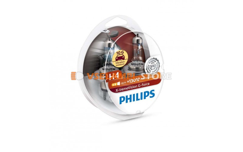 Галогенные лампы PHILIPS X-tremeVision G-force +130% комплект 2шт. - цоколь H4