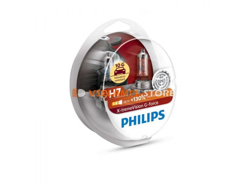Галогенные лампы PHILIPS X-tremeVision G-force +130% комплект 2шт. - цоколь H7