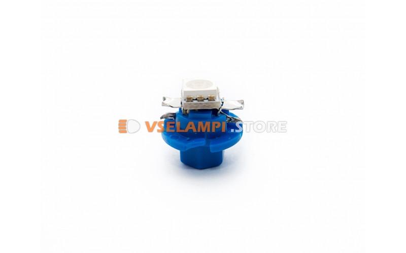 Светодиод 12vT5 BAX8.5D EURO 1SMD 3chip ВДО микрушка с патроном (низкий) - цвет свечения синий