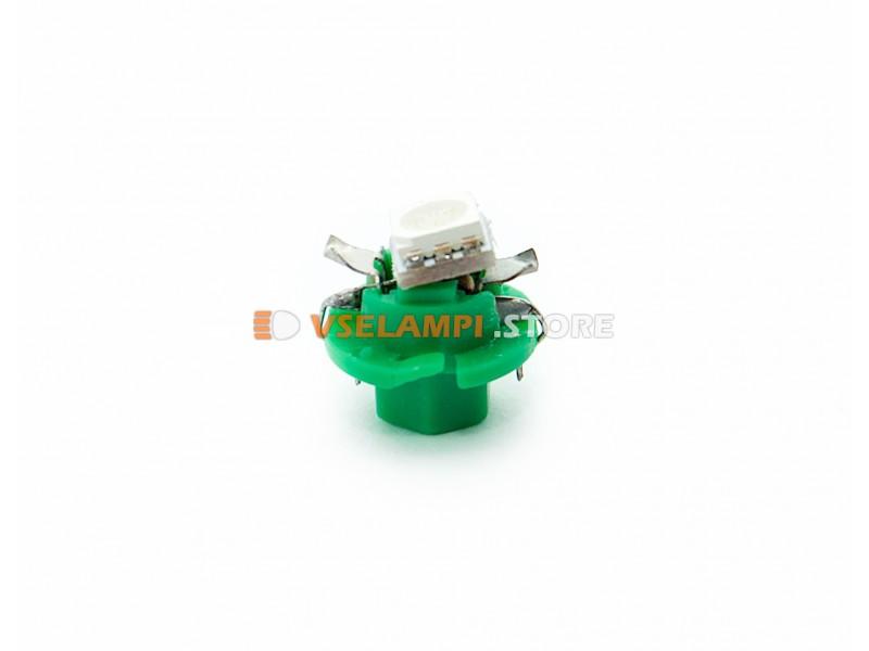 Светодиод 12v BAX8.5D EURO 1SMD 3chip ВДО микрушка с патроном (низкий) - цвет свечения зелёный