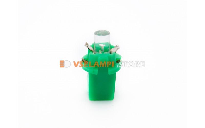 Светодиод 12vT5 BAX8,3D 1LED микрушка с патроном - цвет свечения зелёный
