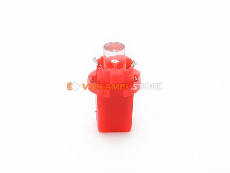 Светодиод 12v BAX8.3D 1LED микрушка с патроном - цвет свечения красный