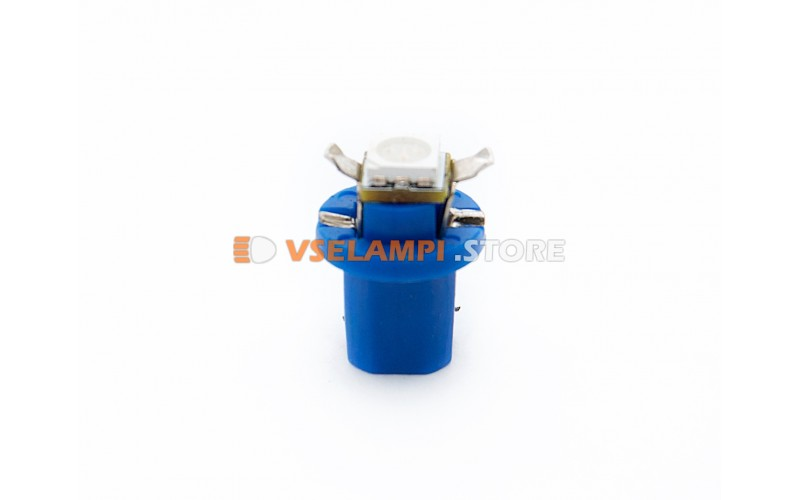 Светодиод 12vT5 BAX8.5D EURO 1SMD 3chip ВДО микрушка с патроном - цвет свечения синий